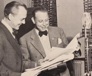 RLm Björn Berglund vid inspelningen av SRprogramet Himlaspelet 1953